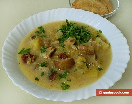 Суп с сыром и белыми грибами