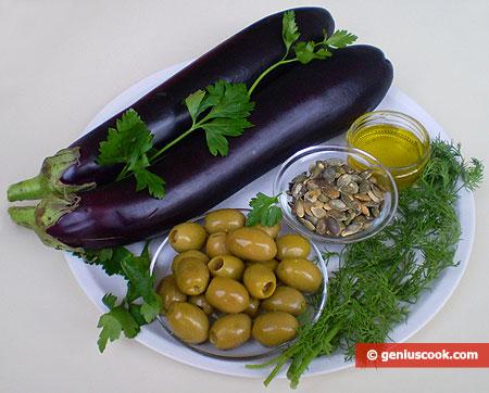 Ингредиенты для салата с баклажанами
