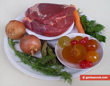 Ингредиенты для говядины с горчично-фруктовым соусом