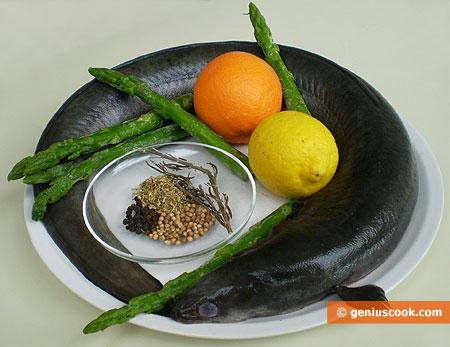 Ингредиенты для угря в апельсиновом маринаде со спаржей