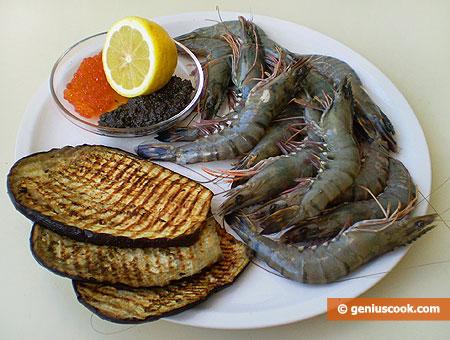 Ингредиенты для креветок гриль с икрой и трюфелями