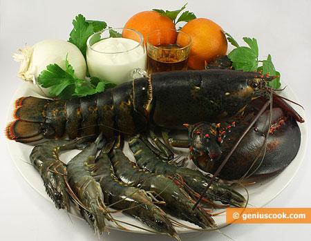 Ингредиенты для лобстера в сливочном соусе