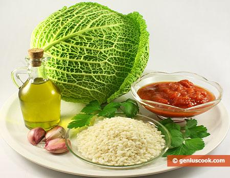Ингредиенты для савойской капусты с рисом