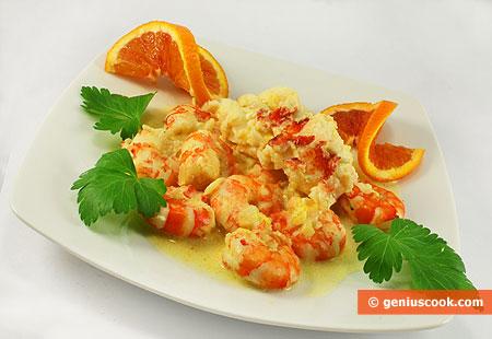 Лобстер с креветками в сливочно-апельсиновом соусе