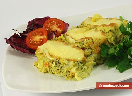 Запеканка с брокколи, макаронами и сыром