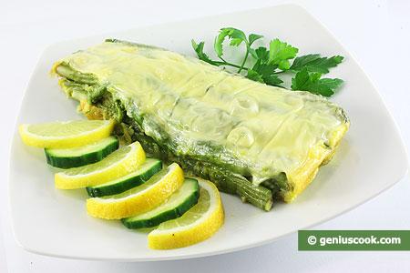 Спаржа с яйцами и сыром
