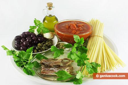 Ингредиенты для спагетти путанеска