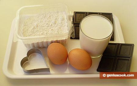 Ингредиенты для пончиков-сердечек с шоколадом