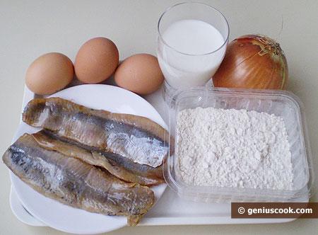 Ингредиенты для блинов с селёдкой