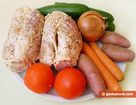 Ингредиенты для рульки с овощами