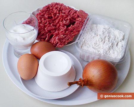 Ингредиенты для жареных пирожков с мясом