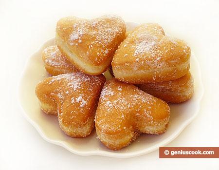 Пончики в виде сердечек