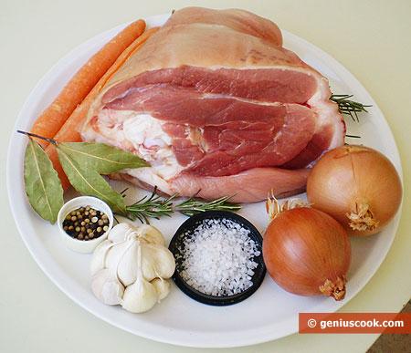 Ингредиенты для свиной рульки