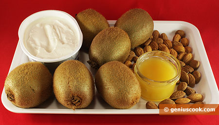 Ингредиенты для десерта с киви и сыром Филадельфия