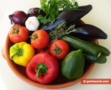 Ингредиенты для классического рататуя Нисуаз