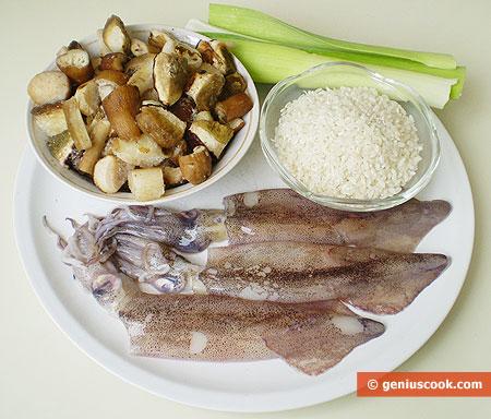 Ингредиенты для фаршированных кальмаров