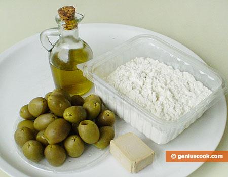 Ингредиенты для фокаччи с оливками