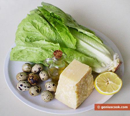 Ингредиенты для салата с перепелиными яйцами