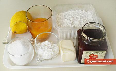 Ингредиенты для сердечек с клубничным конфитюром