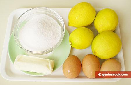Ингредиенты для лимонного мороженого