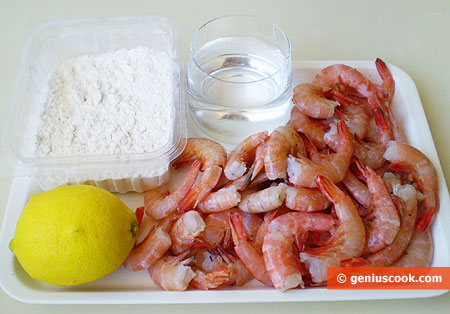 Ингредиенты для креветок в лимонном кляре