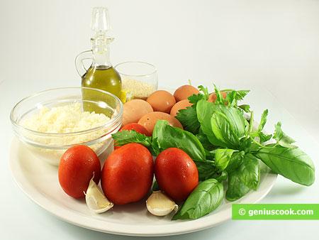 Ингредиенты для сырных шариков в томатном соусе
