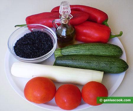 Ингредиенты для чёрного риса с овощами