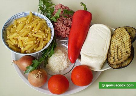 Ингредиенты для макарон запечённых по-неаполитански