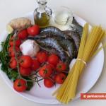 Ингредиенты для лингвини с имбирным соусом и тигровыми креветками