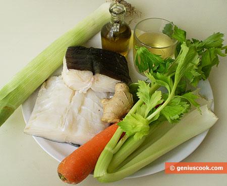 Ингредиенты для трески в соусе с имбирём и сельдереем
