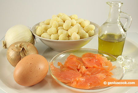 Ингредиенты для ньокки с копчёным лососем