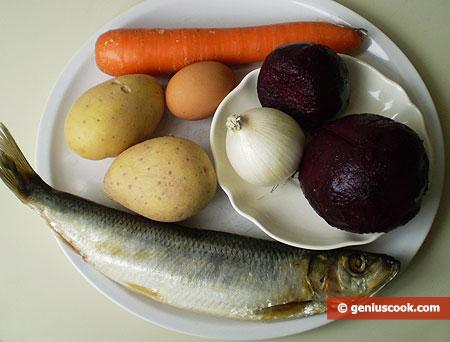 Ингредиенты для селёдки под шубой