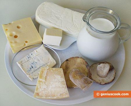 """Ингредиенты для жульена """"Иезуит"""" с грибами и сыром"""