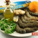 Ингредиенты для пасты с креветками в апельсиново-имбирном соусе