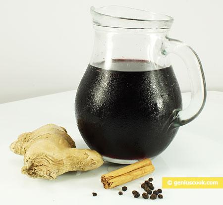 Ингредиенты для глинтвейна с перцем, имбирём и корицей