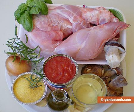 Ингредиенты для кролика с грибами и полентой