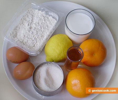 Ингредиенты для французских блинчиков Сюзетт
