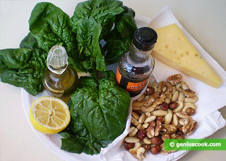 Ингредиенты для салата из шпината, орехов и сыра