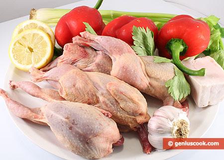 Ингредиенты для перепелов в соусе с перцем и сельдереем