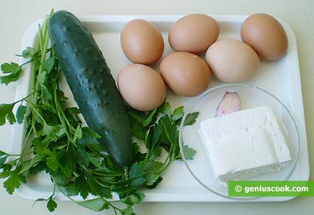 Ингредиенты для яиц с сыром, чесноком и петрушкой