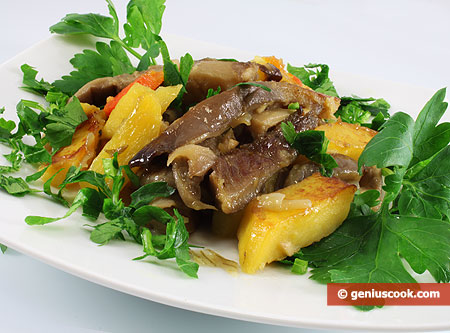 Грибы вешенки с картошкой