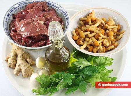 Ингредиенты для куриной печени с имбирём