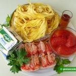 Ингредиенты для феттуччине с крабовым соусом