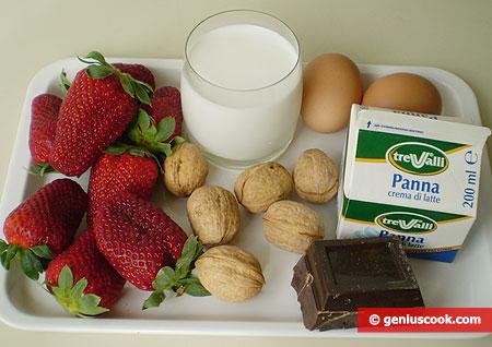 Ингредиенты для шоколадного пудинга с клубникой и сливками