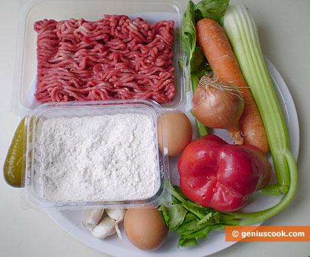 Ингредиенты для супа с фрикадельками и чесночными клёцками