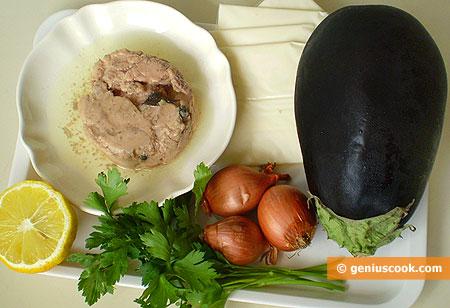 Ингредиенты для баклажанов с печенью трески