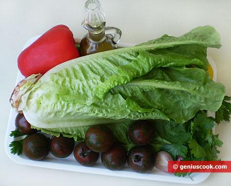 Ингредиенты для салата с чёрными помидорами