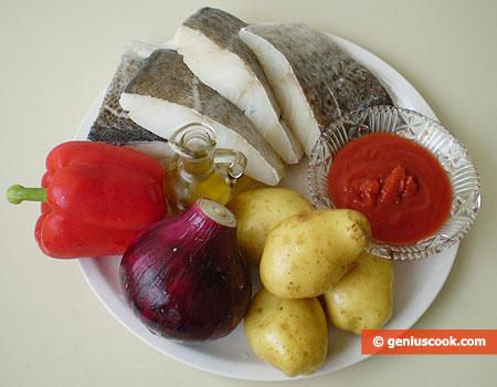 Ингредиенты для трески с картошкой