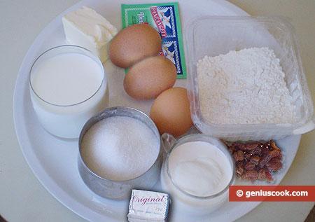 Ингредиенты для ванильных сухарей с изюмом