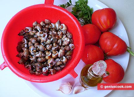 Ингредиенты для улиток с помидорами